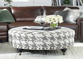 image of round coffee table ottoman with shelf