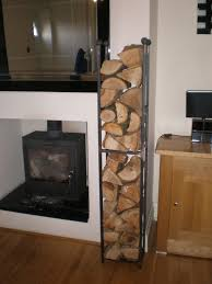 Vertical Black Metal Indoor Firewood Rack For Wall Built In Small Fireplace  With Glass Screen Ideas