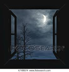 open window at night. Exellent Open Double Window Open To The Moon Lite Night Crescent Moon Night Sky With  Clouds Old Naked Trees Illustration Inside Open Window At Night