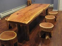 wooden furniture ideas. How To Make Rustic Wood Furniture \u2013 Log Table And Stools Wooden Ideas