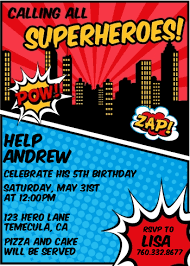 superheroes birthday party invitations calling all superheroes birthday party invitations candles and favors