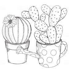 Hand Getekend Set Vetplanten En Cactus In Potten Doodles Elementen