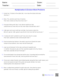 multiplication and division word problems using 1 digit