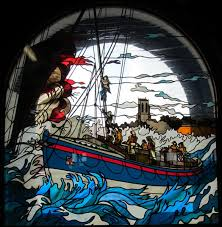 window stained glass pattern boat