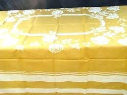 french table linens mustard gold country style vintage pure linen damask tablecloth never used round tablecloths
