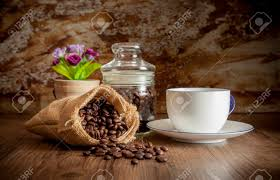 Decorate Glass Jar Coffee In Sack And White Cup Decorate With Glass Jar Flower 77