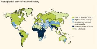 water scarcity international decade for action water for life  map global physical and economic water scarcity