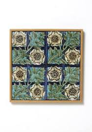 Arts And Crafts Decorative Tiles Vintage English Deco Art Nouveau Tile mounted in Oak Arts Crafts 60