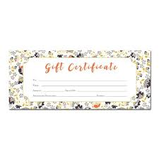 Personalized Gift Certificates Template Free Impressive Floral Print Blank Gift Certificate Premade Gift Etsy