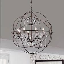 antique bronze orb globe chandelier 8 light crystal hanging light fixture ring