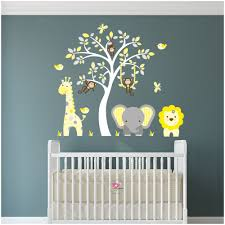 jungle wall art decals yellow and grey nursery on nursery wall art stickers uk with jungle animal nursery wall art stickers