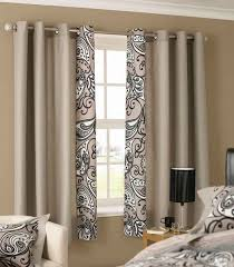 dazzling bedroom curtain ideas with beige decorative vertical curtain on white framed window