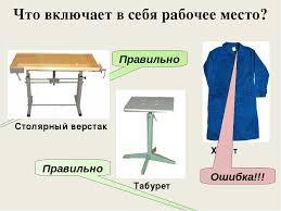 Презентация по технологии на тему Верстак столярный класс  Столярный верстак Табурет Халат Правильно