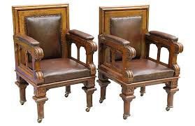 antique leather library chairs pair