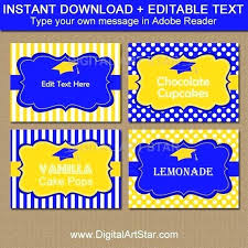 Candy Labels Royal Blue And Yellow Graduation Buffet