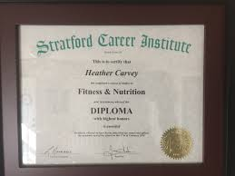 credentials heather carvey diploma fitness nutrition stratford career institute