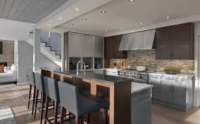 both natural and recessed lighting brighten the kitchen and living areas to balance the darker shades