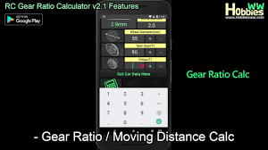 Traxxas 4 Tec 2 0 Gearing Chart Android App Rc Gear Ratio Calculator V2 1 Features