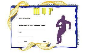 Football Mvp Certificate Template Free 2 One Package
