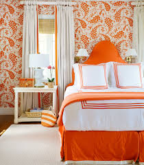 Bedroom:Interesting And Relaxing Orange Bedroom Color Ideas With White  Curtain And Drum Shape Table
