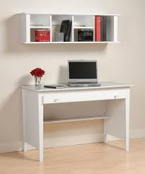 home office room furniture idea with simple white desk plus wall shelf combine light brown laminate floor affordable desks ideas office desk idea35 idea