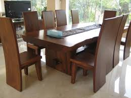 modern dining table. Modern Solid Wood Dining Table For Elegant Room Decor With High Backed Chairs