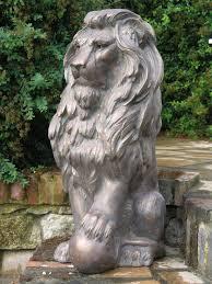 english lion antique bronze sculpture large garden statue