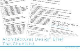 the architectural design brief the checklist
