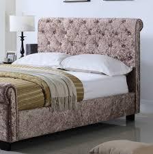 Ottoman Bedroom Whitford Side Ottoman Mink Crushed Velvet Bed Frame