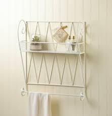 white wire basket type wall shelf with