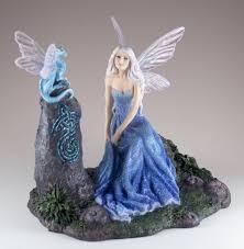 Veronese Design Angels Luminescent Blue Fairy With Dragon Figurine Statue 6 25