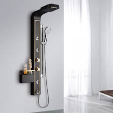 paris waterfall rainfall wall mounted shower panel with massage jets tub spout and shelf