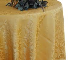 108 round jacquard damask polyester tablecloth gold 1pc pk