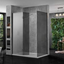 large walk in shower enclosure black glass 10mm including tray and return panel for high quality