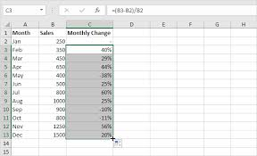 rate comparison format in excel percent change formula in excel easy excel tutorial