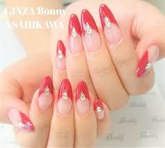 Ginza Bonny旭川店さんのネイルデザイン 赤のシンプルフレンチネイル
