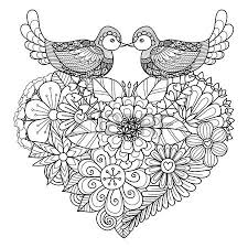 Small Picture Two Birds Kissing Above Floral Heart Shape Nest For Coloring