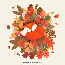 Free Vector | Autumn background with <b>cute fox</b>