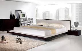 modern platform bed with nightstands  bed furniture decoration