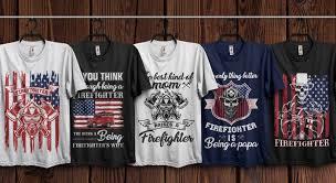 Mockup Shirt Design Firefighter T Shirts Design Bundle With Free Mockup On Behance