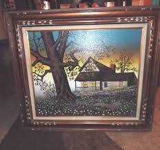h hargrove large oil on canvas painting farmhouse tree americana 32 x 28 framed