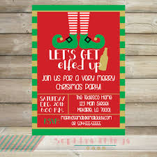 let s get elfed up christmas party invitation holiday let s get elfed up christmas party invitation holiday party red green gold stripe christmas work party invite funny printable