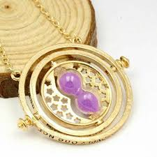 harry potter time turner hermione granger hourglass pendant necklace gold purple
