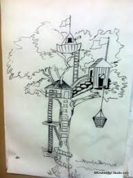how to draw a treehouse step by step. Modren Draw Tree HouseDrawing Lesson On How To Draw A Treehouse Step By