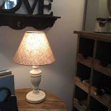white wooden bedside table lamps pair with linen shade by