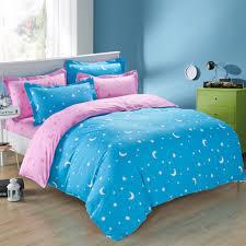 blue pink moon star full queen size duvet cover bedding