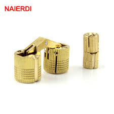 NAIERDI 4PCS 14mm Copper Barrel Hinges Cylindrical Hidden Cabinet