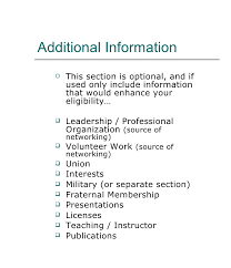 Additional Information On Resume
