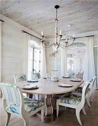 furniture oval shabby white wooden dining table under chandeliers lamp connected by white wooden dining