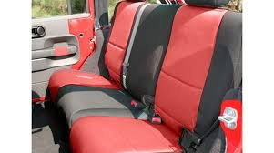 neoprene rear seat covers black red 2